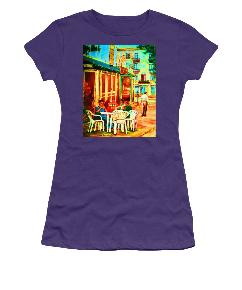 Cafes Women's T-Shirt (Athletic Fit) featuring the painting Cafe Vienne by Carole Spandau