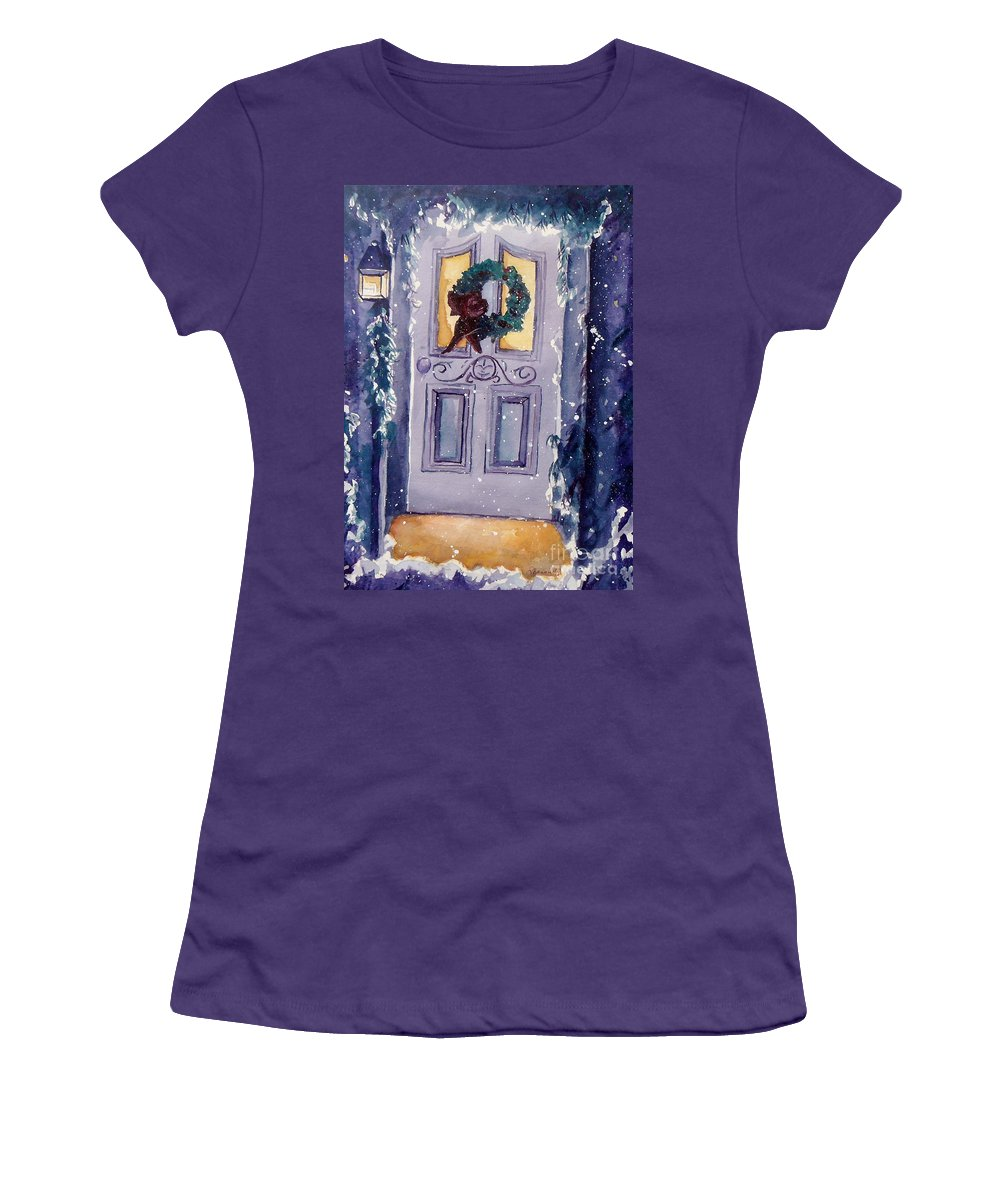 Holiday Scene Women's T-Shirt (Athletic Fit) featuring the painting Christmas Eve by Jan Bennicoff