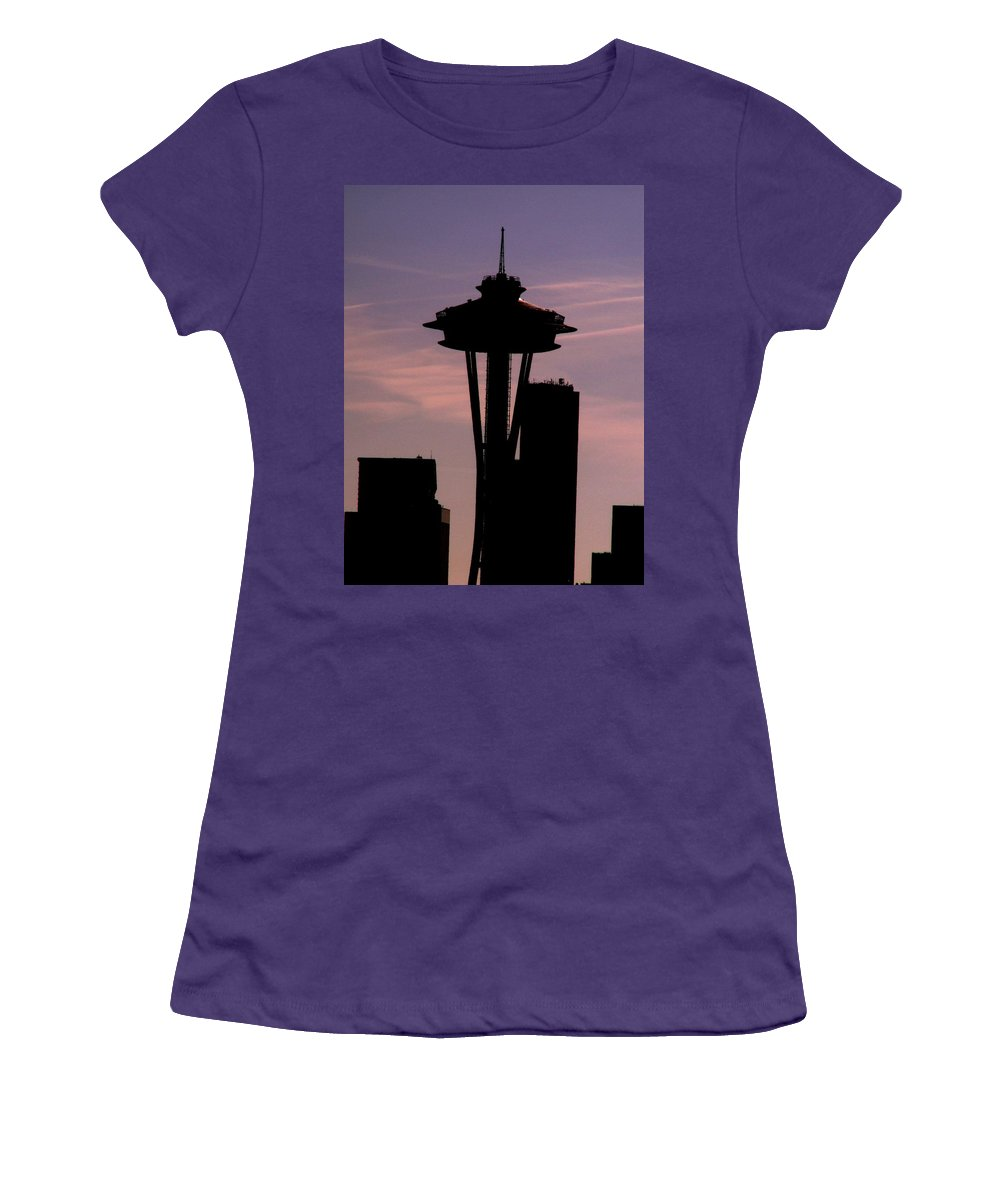 Seattle Women's T-Shirt (Athletic Fit) featuring the digital art City Needle by Tim Allen