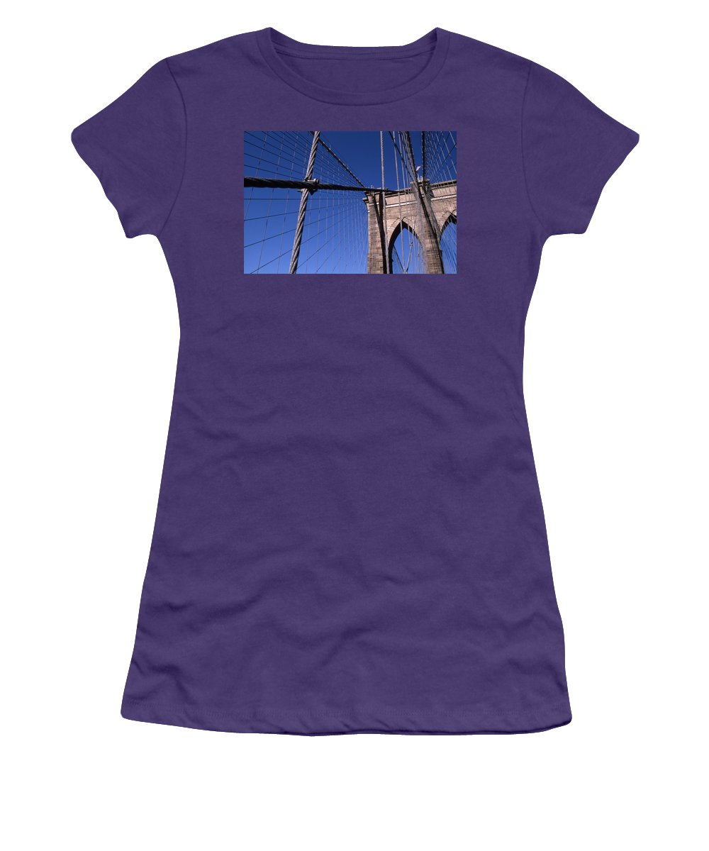Landscape Brooklyn Bridge New York City Women's T-Shirt (Athletic Fit) featuring the photograph Cnrg0405 by Henry Butz