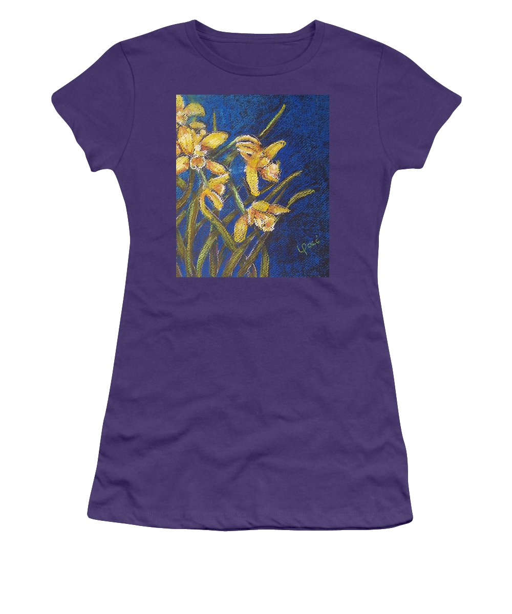 Daffodils Women's T-Shirt (Athletic Fit) featuring the painting Daffodils by Laurie Paci