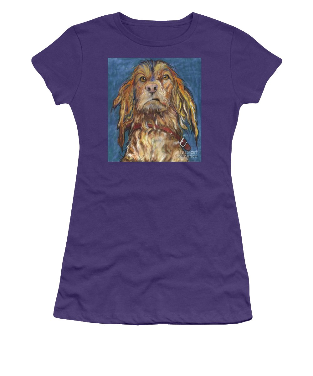 Golden Retriever Painting Women's T-Shirt (Athletic Fit) featuring the pastel Drenched by Pat Saunders-White