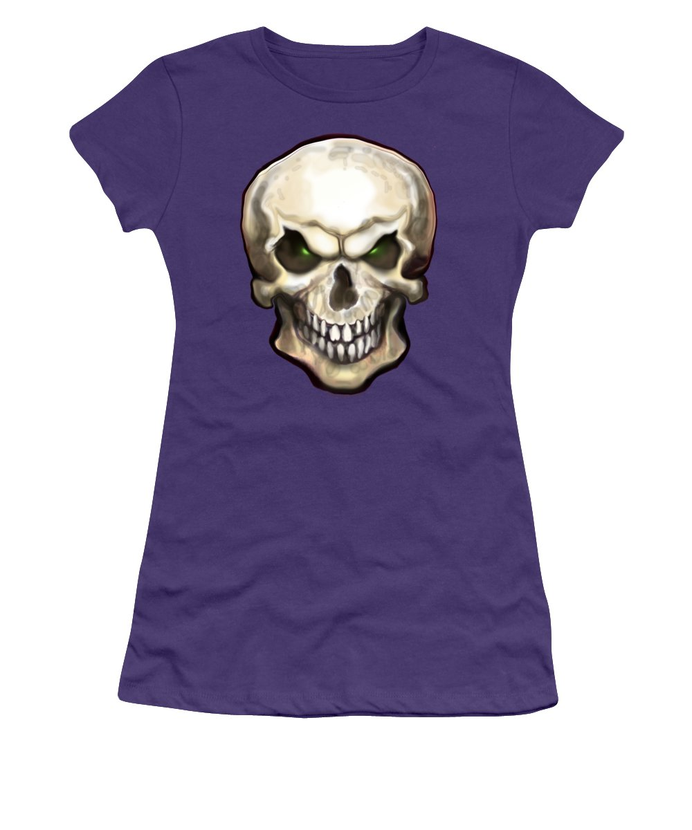 Skull Women's T-Shirt (Athletic Fit) featuring the painting Evil Skull by Kevin Middleton