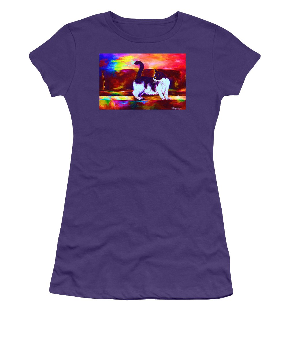 Cats Women's T-Shirt (Athletic Fit) featuring the painting Eye On The Prize by Carole Spandau