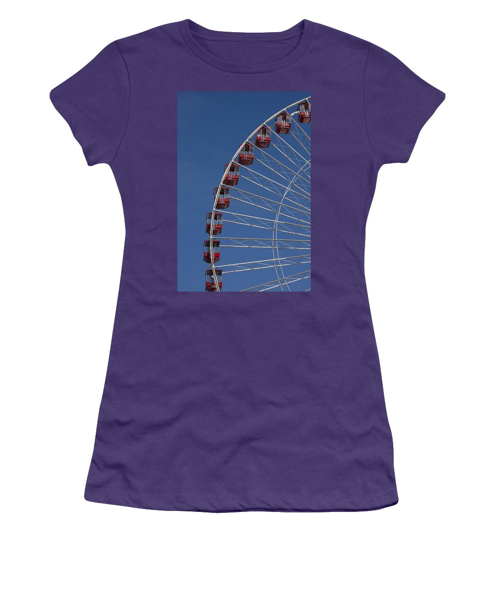 Chicago Navy Pier Windy City Ferris Wheel Attraction Blue Sky Red Tourist Tourism Travel Women's T-Shirt (Athletic Fit) featuring the photograph Ferris Wheel II by Andrei Shliakhau