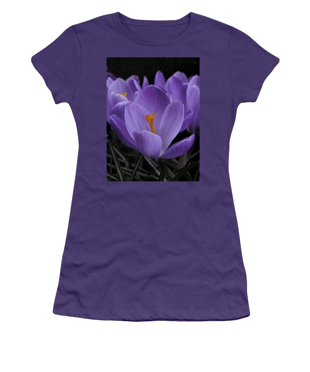 Flowers Women's T-Shirt (Athletic Fit) featuring the photograph Flower Crocus by Nancy Griswold