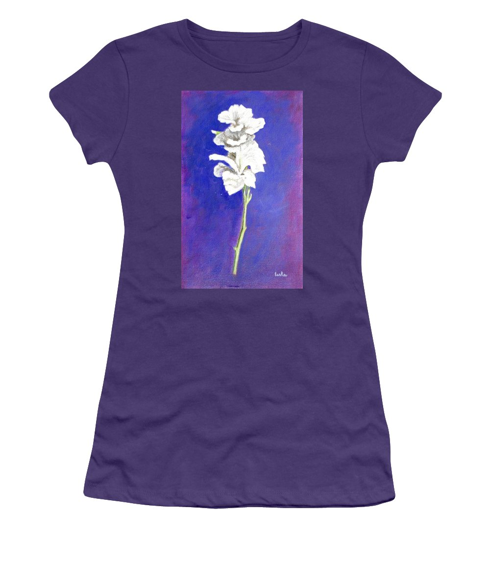 Flower Women's T-Shirt (Athletic Fit) featuring the painting Gladiolus 1 by Usha Shantharam