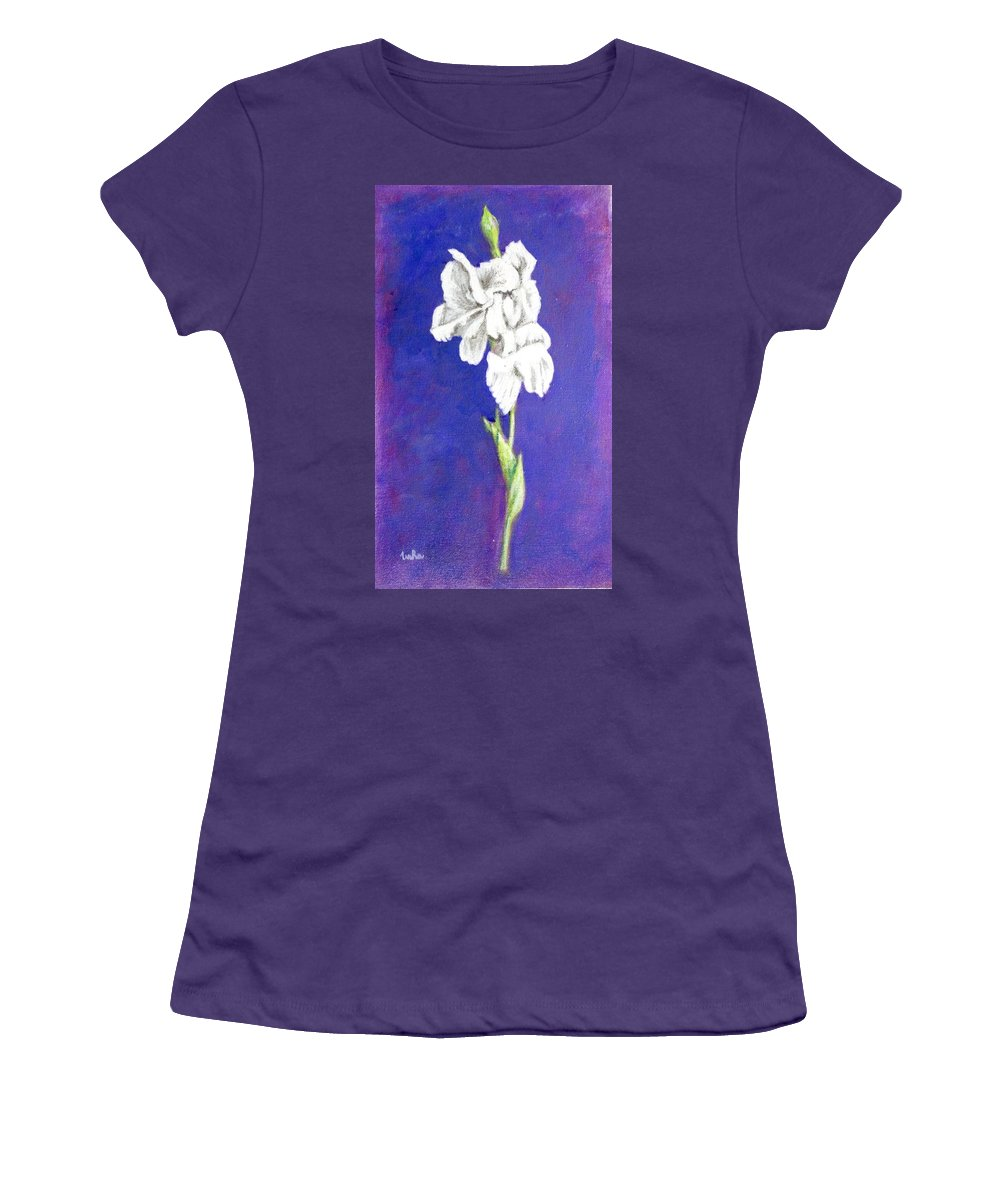 Women's T-Shirt (Athletic Fit) featuring the painting Gladiolus 2 by Usha Shantharam