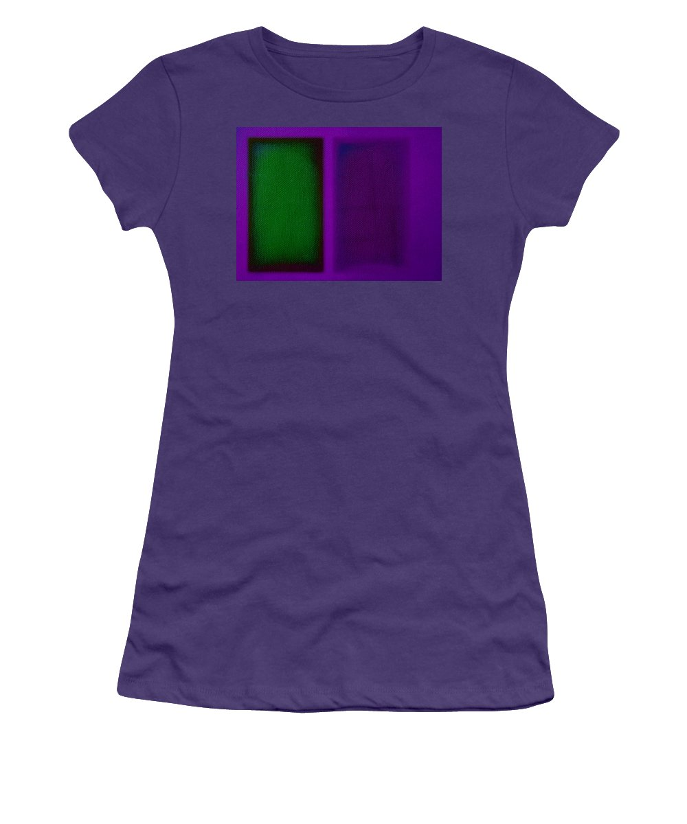 Rothko Women's T-Shirt (Athletic Fit) featuring the painting Green On Magenta by Charles Stuart