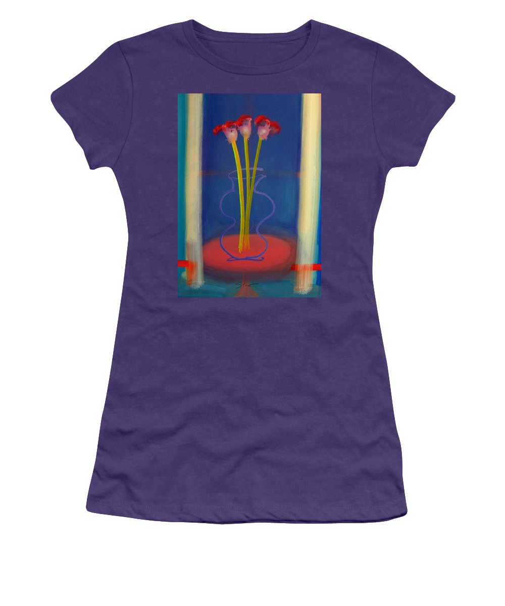 Guitar Women's T-Shirt (Athletic Fit) featuring the painting Guitar Vase by Charles Stuart
