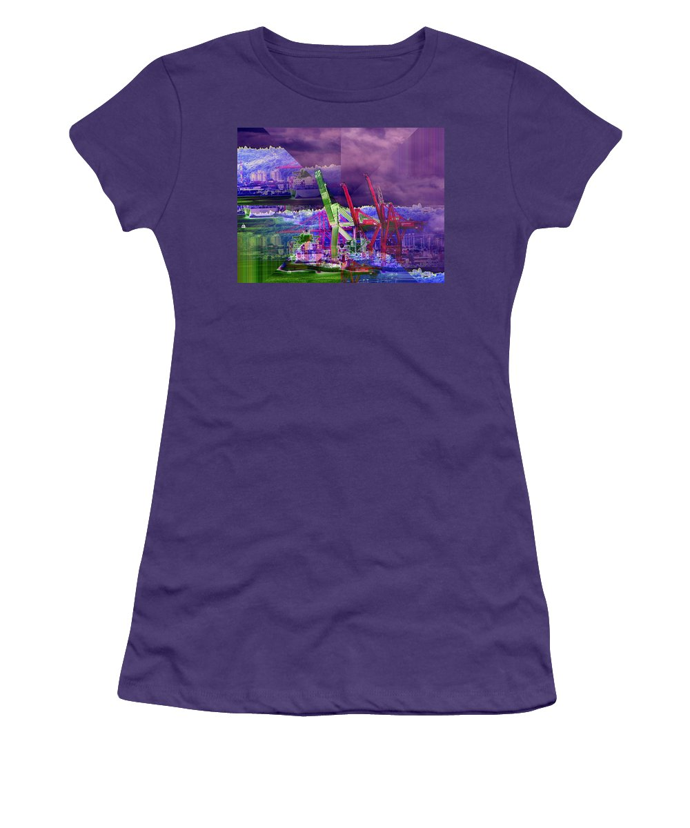 Seattle Women's T-Shirt (Athletic Fit) featuring the digital art Harbor Island Workhorses by Tim Allen