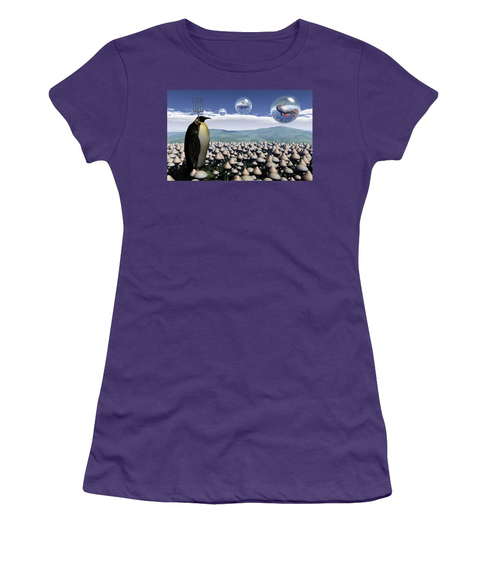 Surreal Women's T-Shirt (Athletic Fit) featuring the digital art Harvest Day Sightings by Richard Rizzo