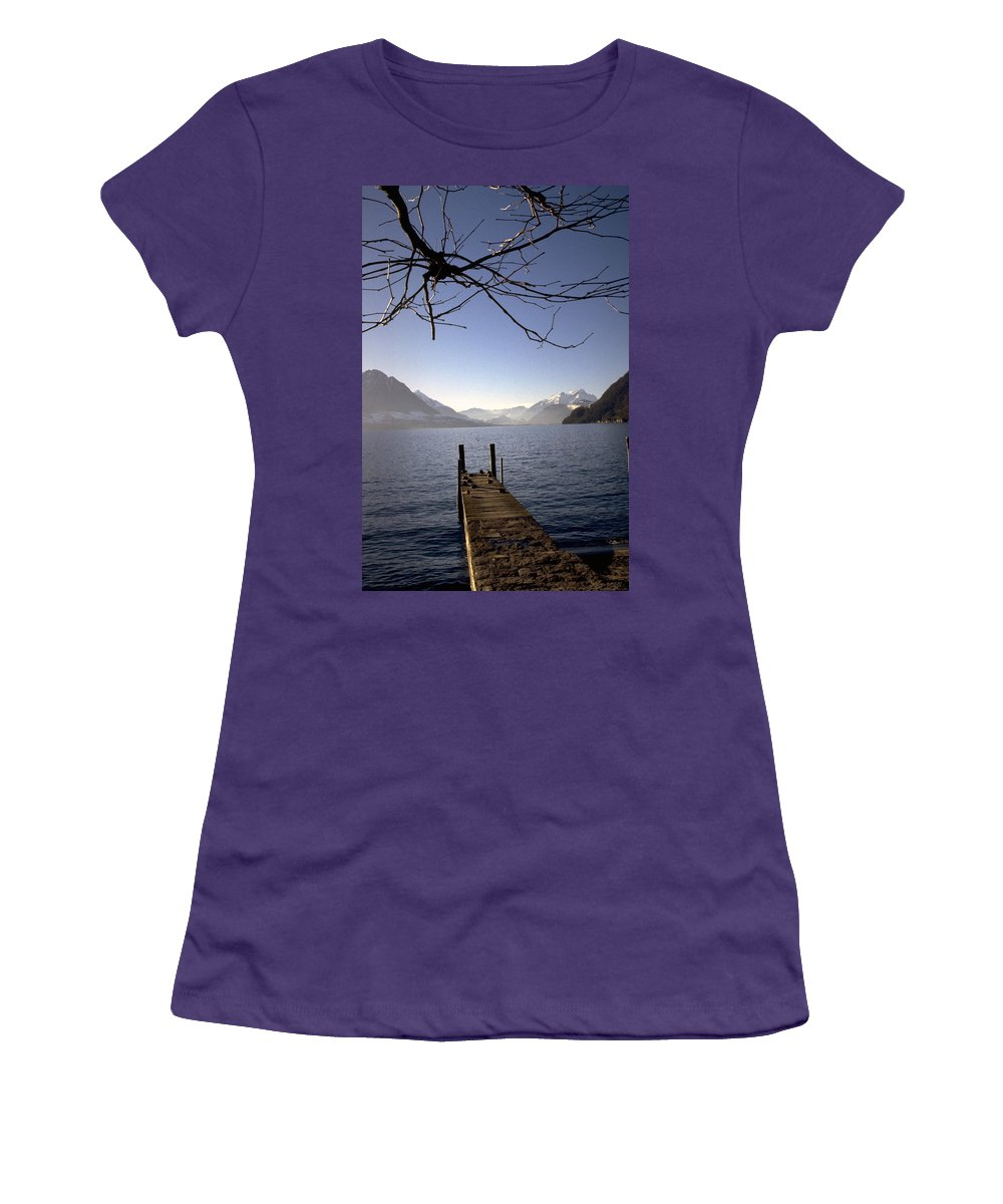 Lake Lucerne Women's T-Shirt (Athletic Fit) featuring the photograph Lake Lucerne by Flavia Westerwelle