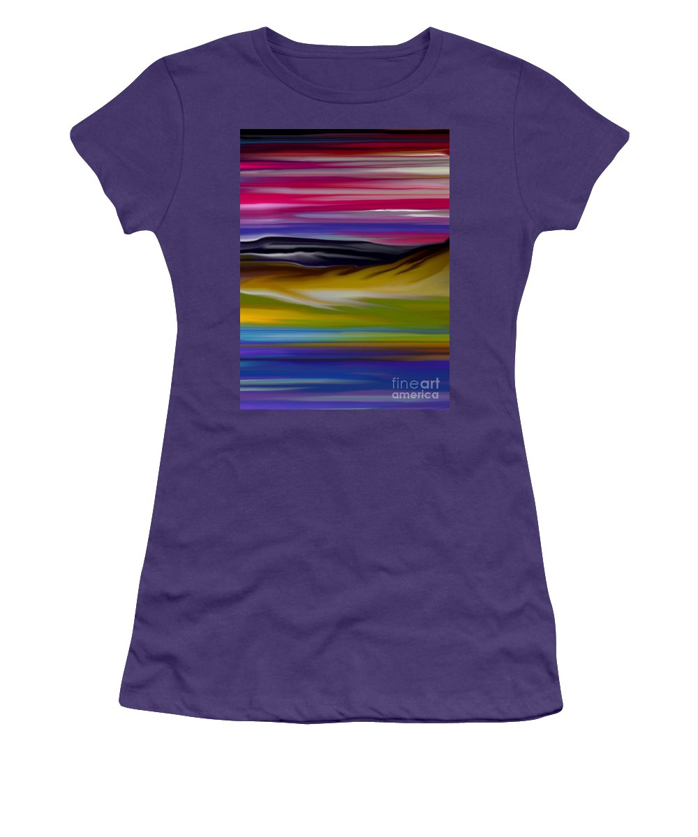 Digital Fantasy Painting Women's T-Shirt (Athletic Fit) featuring the digital art Landscape 7-11-09 by David Lane