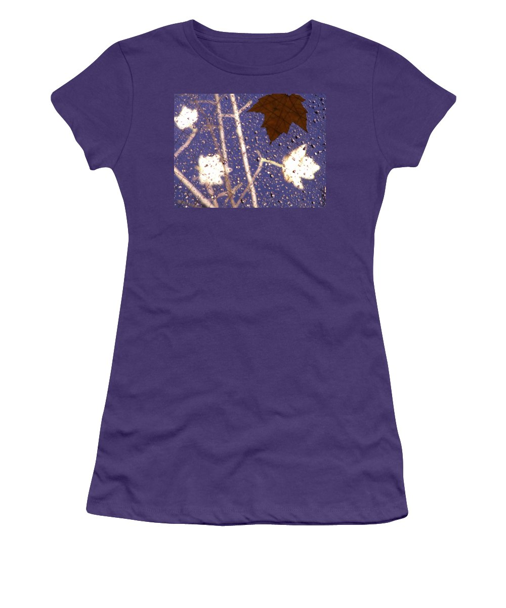 Leaves Women's T-Shirt (Athletic Fit) featuring the photograph Leaves And Rain 2 by Tim Allen