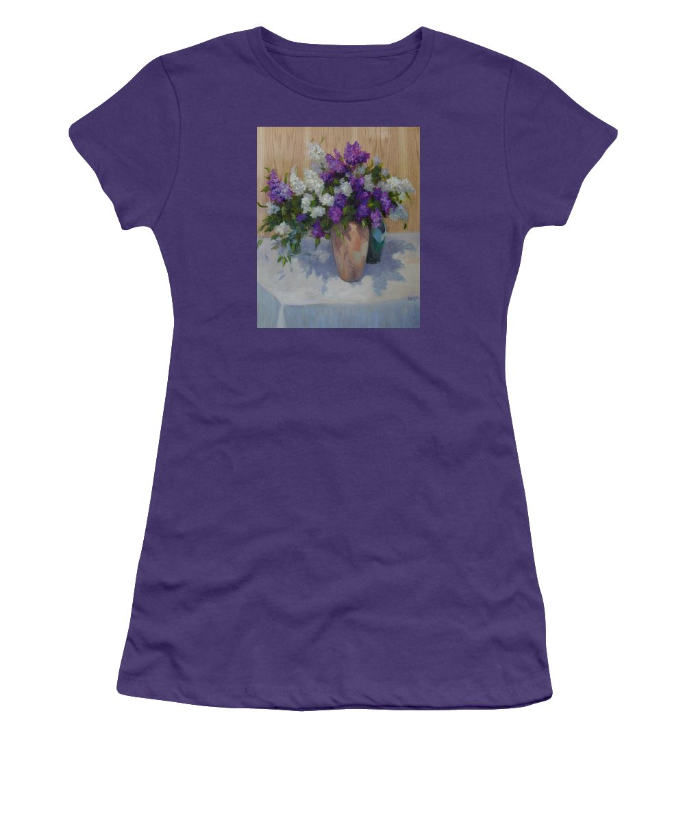 Lilacs Women's T-Shirt (Athletic Fit) featuring the painting Lilacs by Patricia Kness