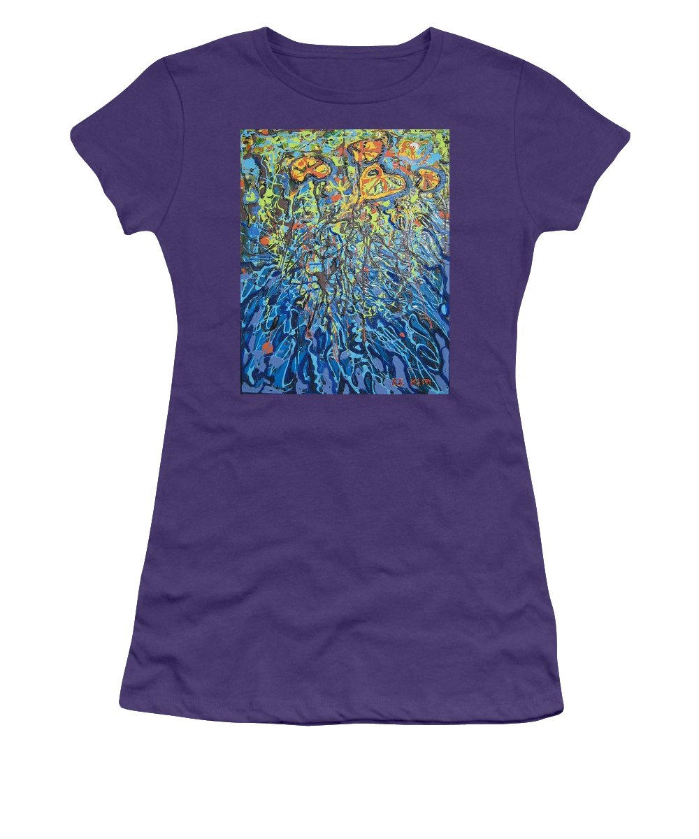 Lily Pads Paintings Women's T-Shirt (Athletic Fit) featuring the painting Lily Pads Water Lily Paintings by Seon-Jeong Kim