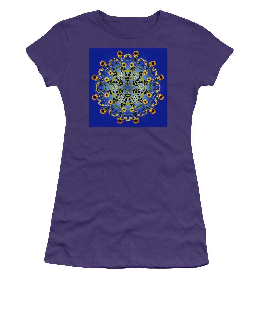 Mandala Women's T-Shirt (Athletic Fit) featuring the digital art Mandala Sunflower by Nancy Griswold