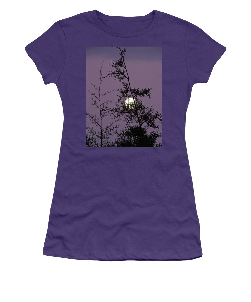 Mary Deal Women's T-Shirt (Athletic Fit) featuring the photograph Moon Trees by Mary Deal