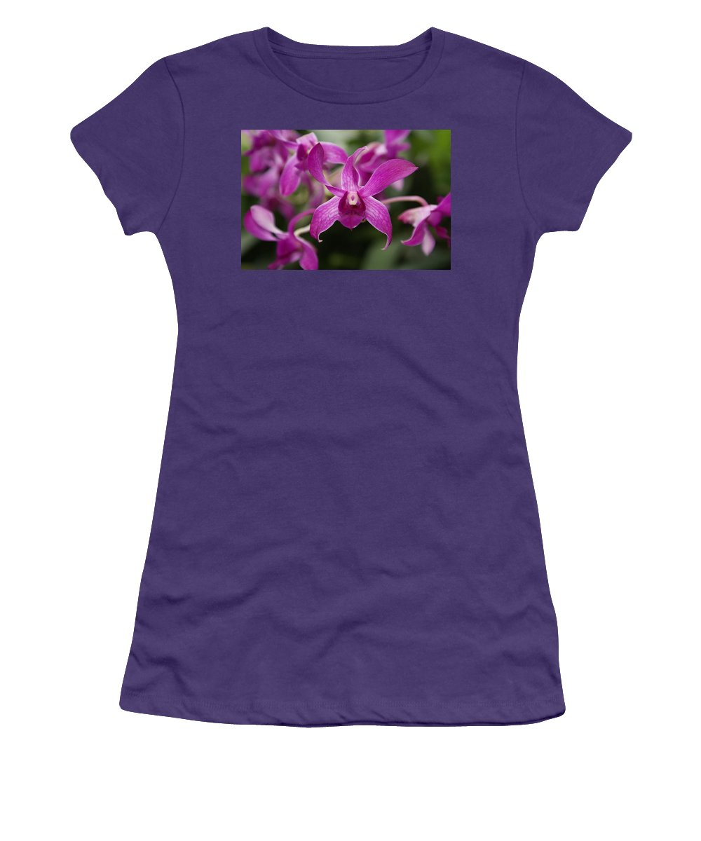 Orchid Women's T-Shirt (Athletic Fit) featuring the photograph Orchid by Heather Coen