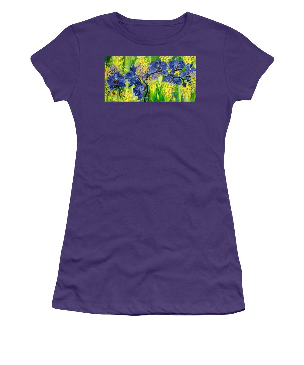 Inga Vereshchagina Women's T-Shirt (Athletic Fit) featuring the painting Orchids In A Gold Rain by Inga Vereshchagina