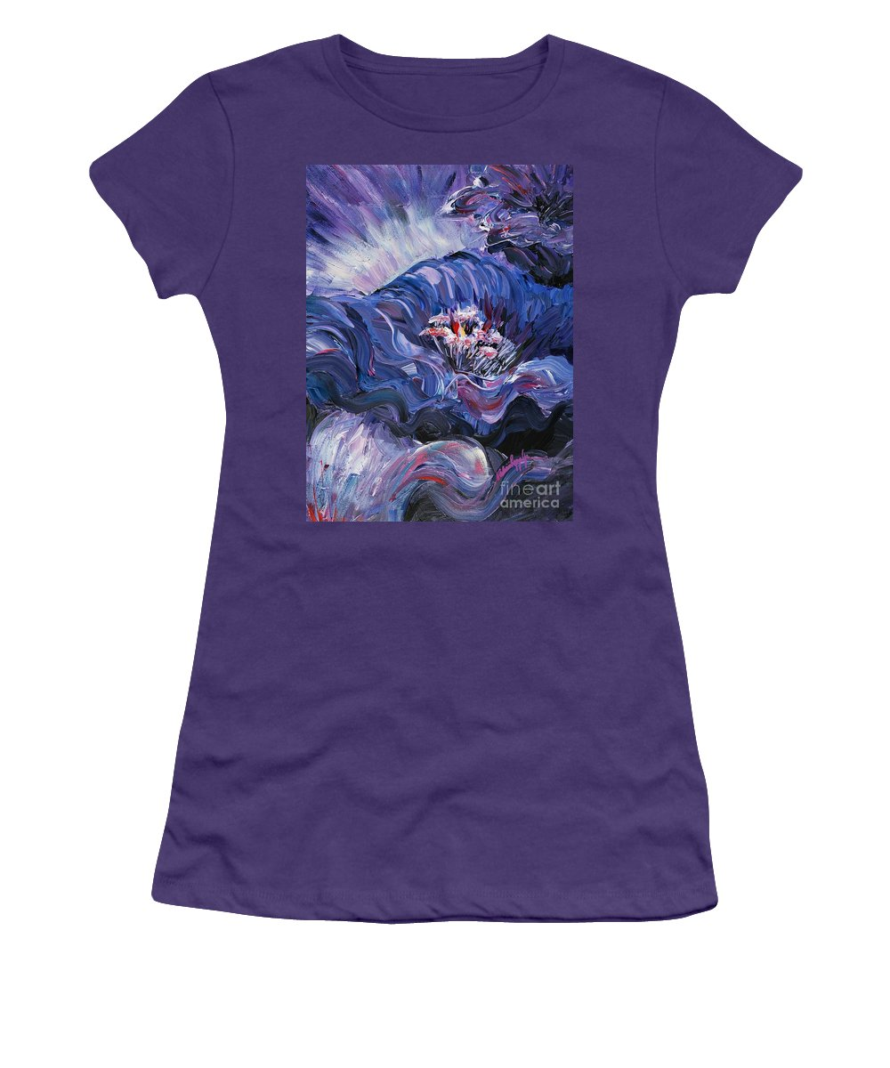 Blue Women's T-Shirt (Athletic Fit) featuring the painting Passion In Blue by Nadine Rippelmeyer