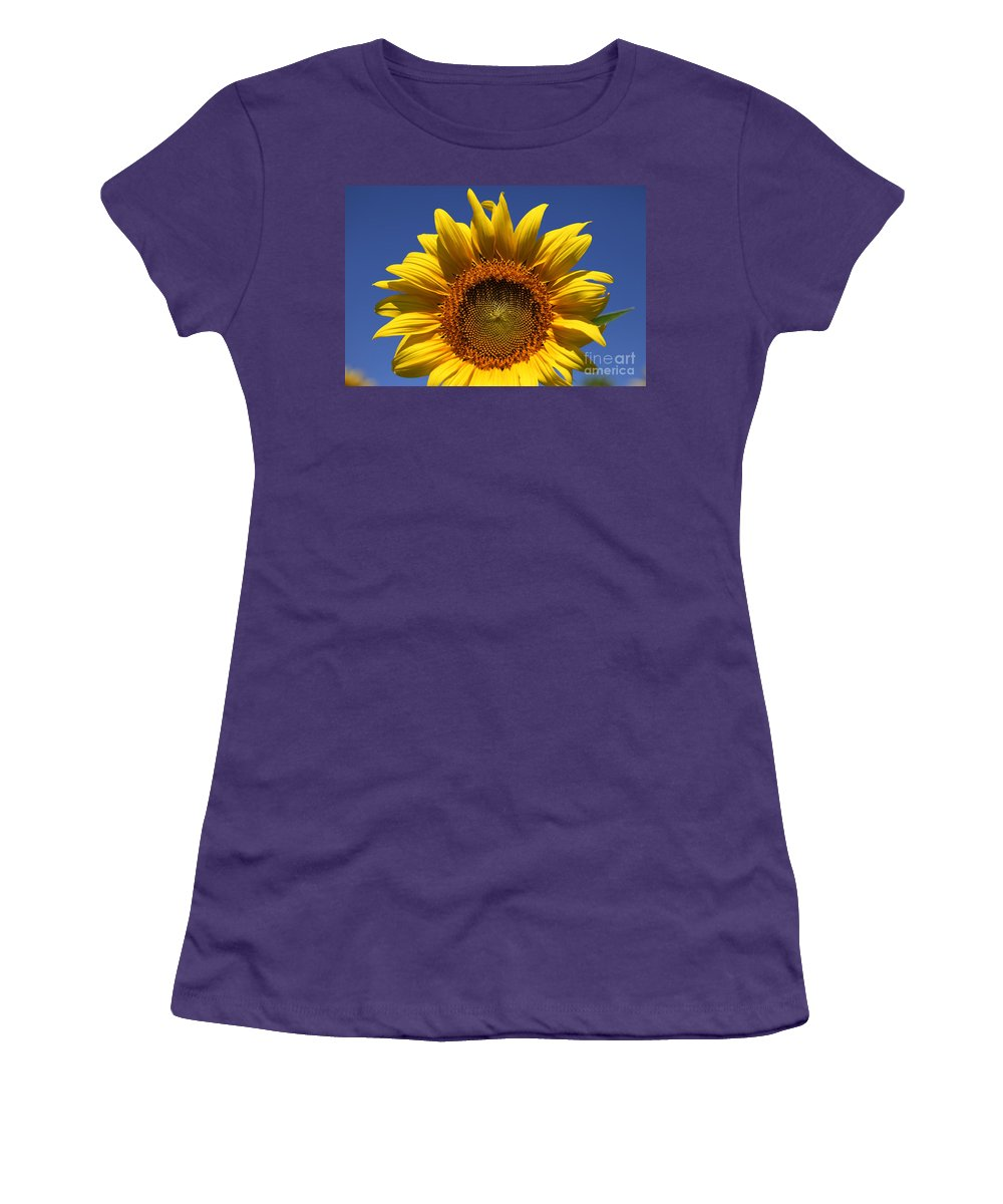 Sunflowers Women's T-Shirt (Athletic Fit) featuring the photograph Peek A Boo by Amanda Barcon