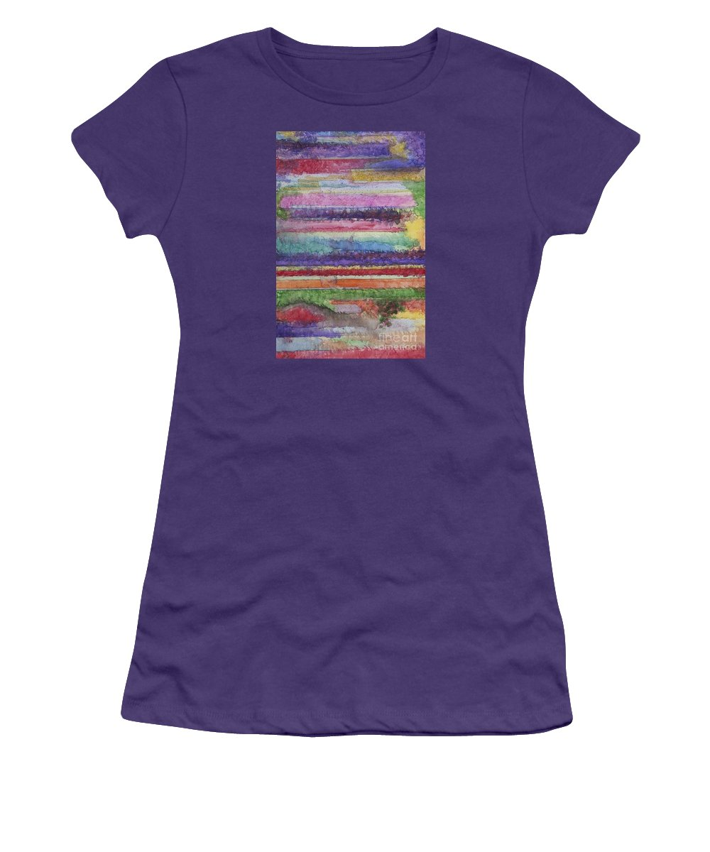Colorful Women's T-Shirt (Athletic Fit) featuring the painting Perspective by Jacqueline Athmann