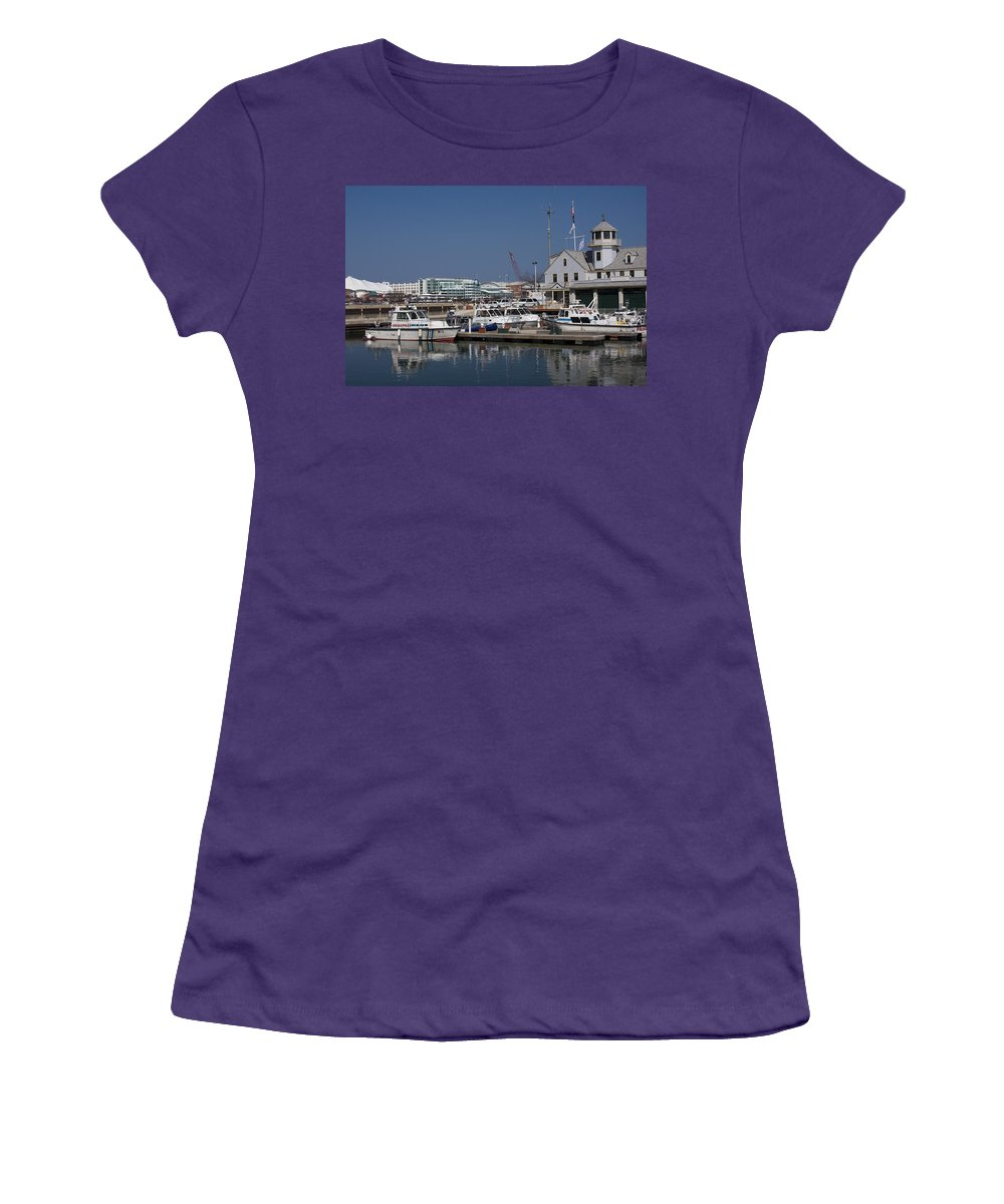 Chicago Windy City Police Station Lake Michigan Water Blue Sky Water Women's T-Shirt (Athletic Fit) featuring the photograph Police Station by Andrei Shliakhau