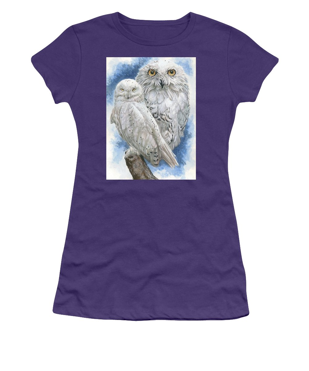 Snowy Owl Women's T-Shirt (Athletic Fit) featuring the mixed media Radiant by Barbara Keith