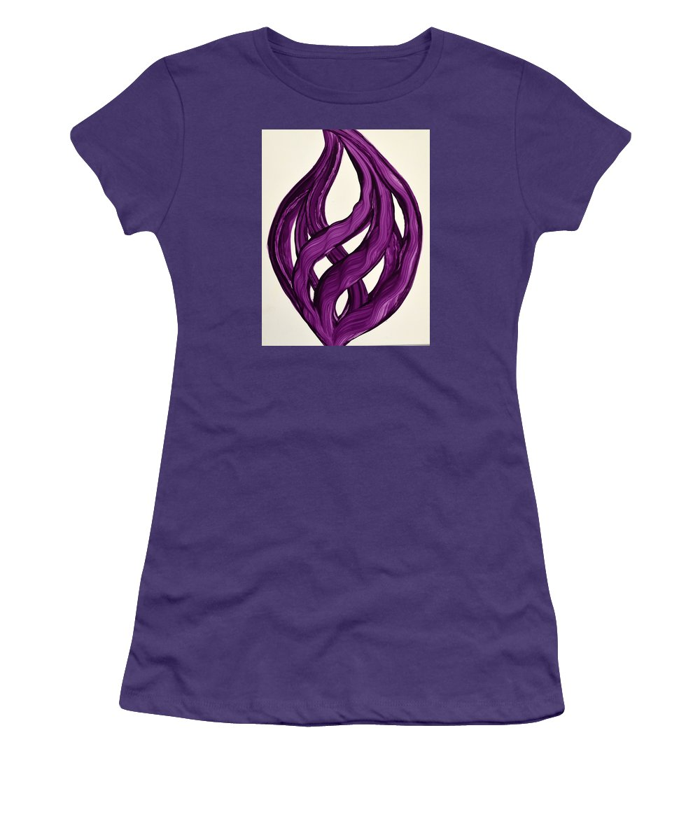 Abstract Art Yupo Comtemporary Modern Pop Romantic Vibrant Women's T-Shirt (Athletic Fit) featuring the painting Ribbons Of Love-violet by Manjiri Kanvinde