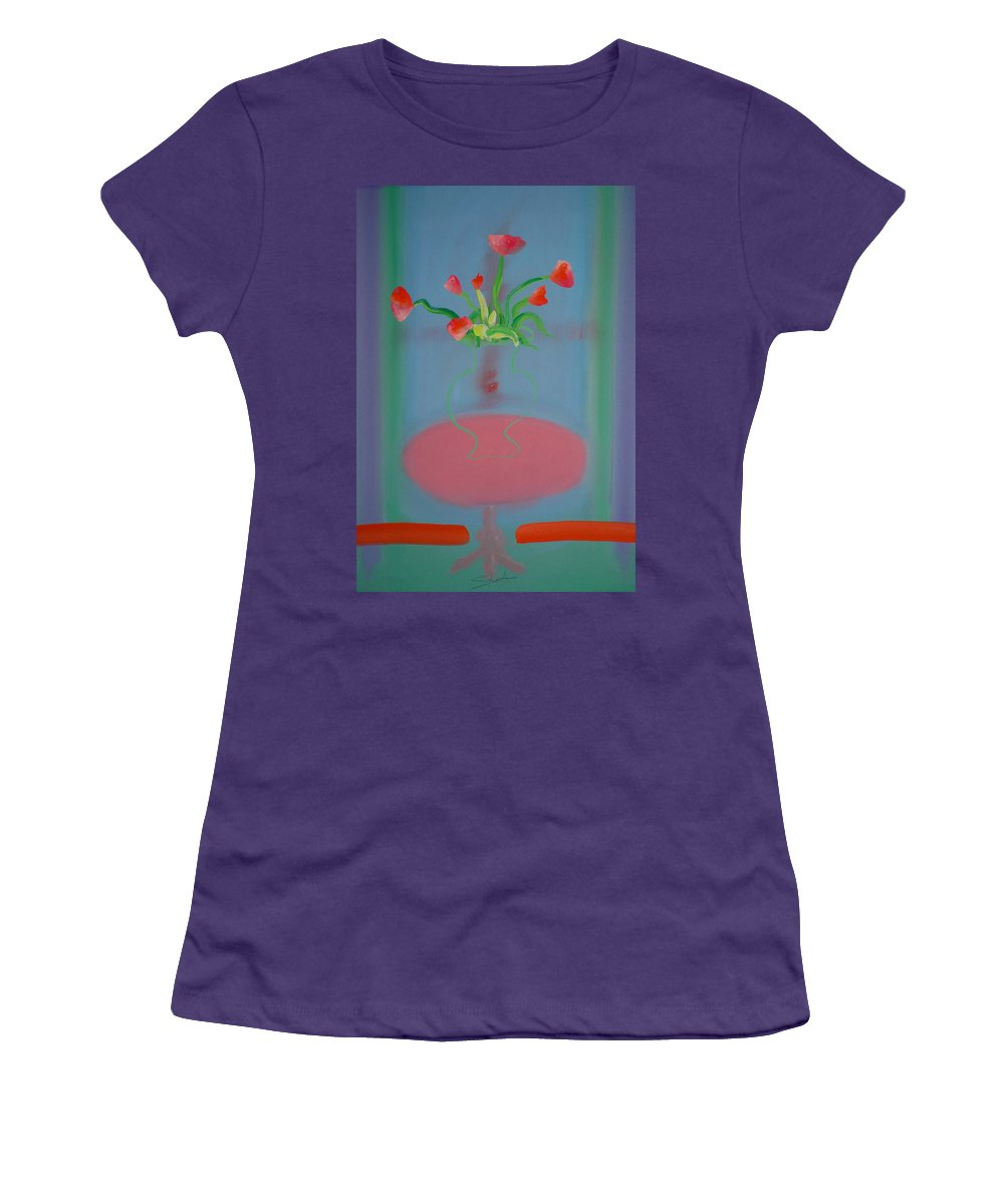 Flower Women's T-Shirt (Athletic Fit) featuring the painting Rouseau Flowers by Charles Stuart