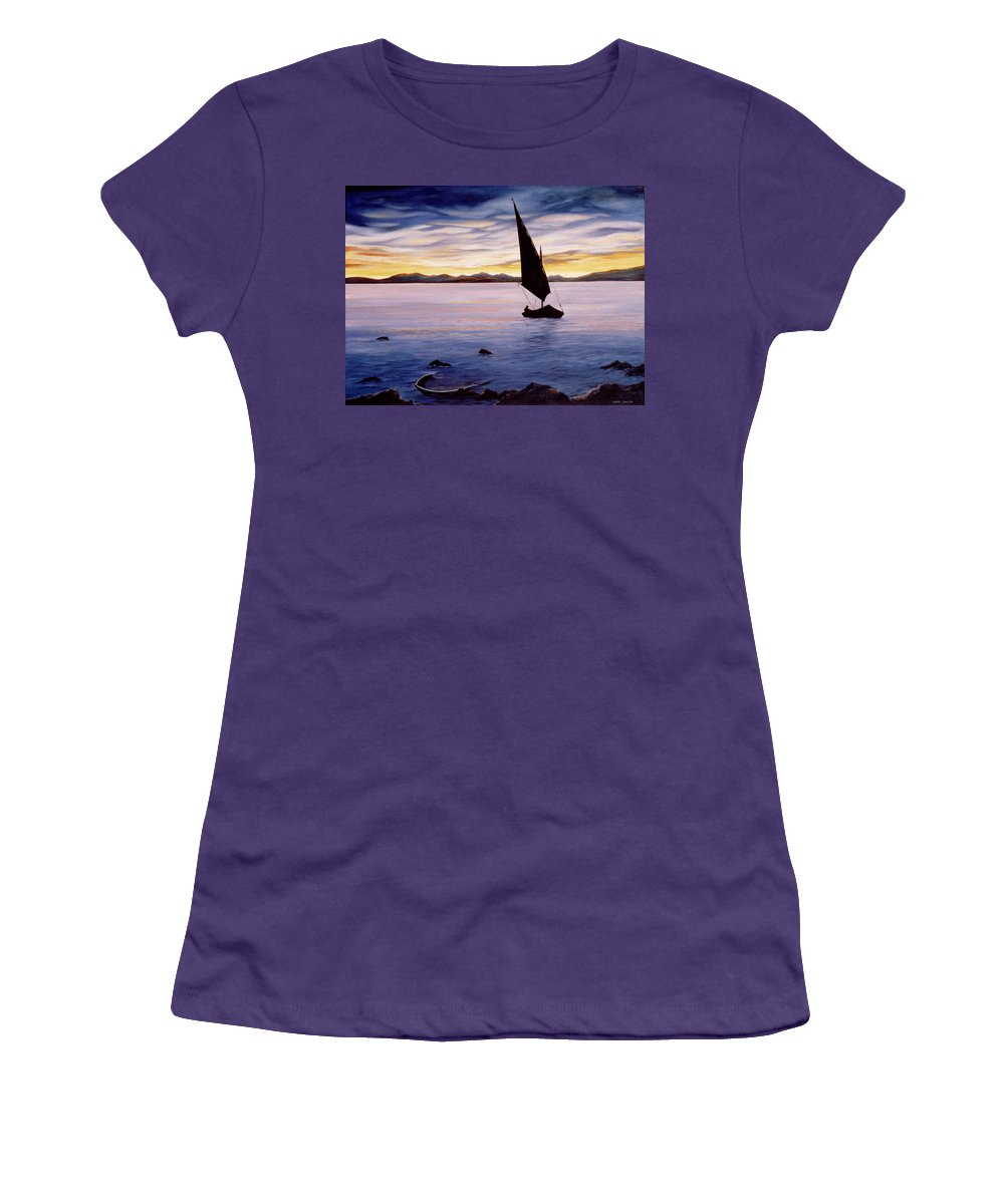 Seascape Women's T-Shirt (Athletic Fit) featuring the painting Sea Of Souls by Mark Cawood