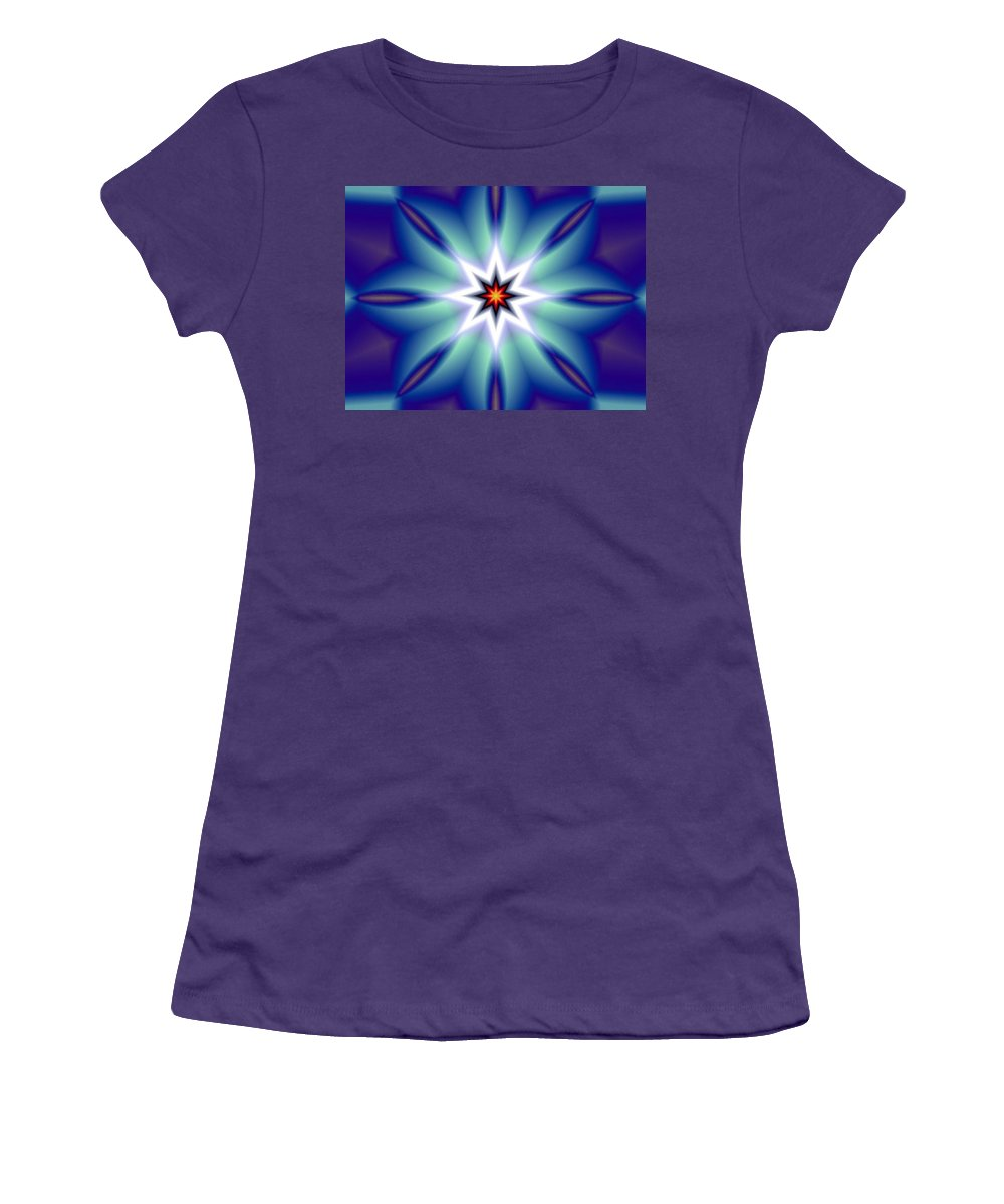 Decorative Women's T-Shirt (Athletic Fit) featuring the digital art The White Star by Oscar Basurto Carbonell