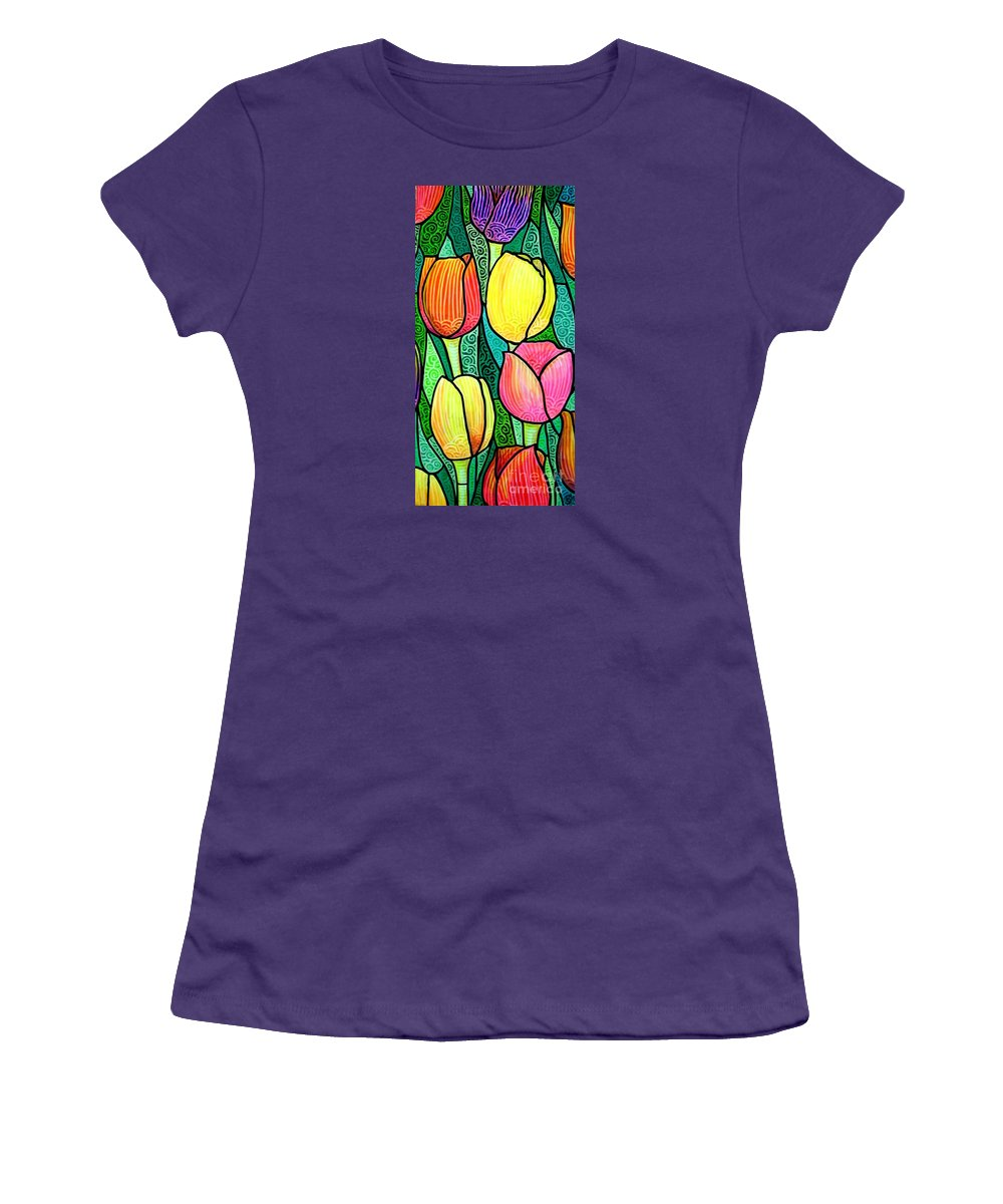 Tulips Women's T-Shirt (Athletic Fit) featuring the painting Tulip Expo by Jim Harris