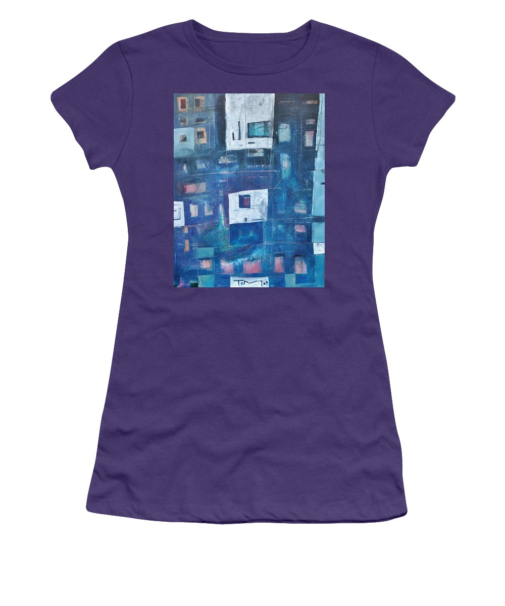 Abstract Women's T-Shirt (Athletic Fit) featuring the painting Twilight Highrise by Tim Nyberg
