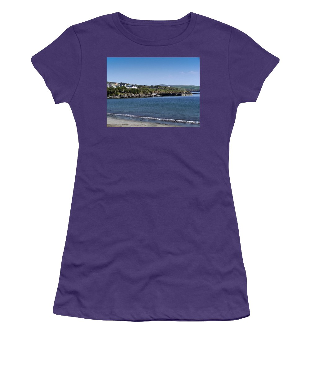 Irish Women's T-Shirt (Athletic Fit) featuring the photograph Ventry Beach And Harbor Ireland by Teresa Mucha