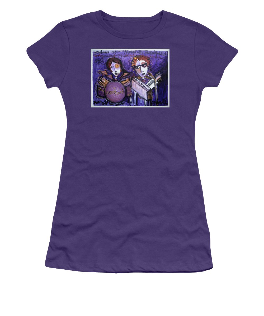 Laurie Maves Art Women's T-Shirt (Athletic Fit) featuring the painting Woodhands At Monolith by Laurie Maves ART