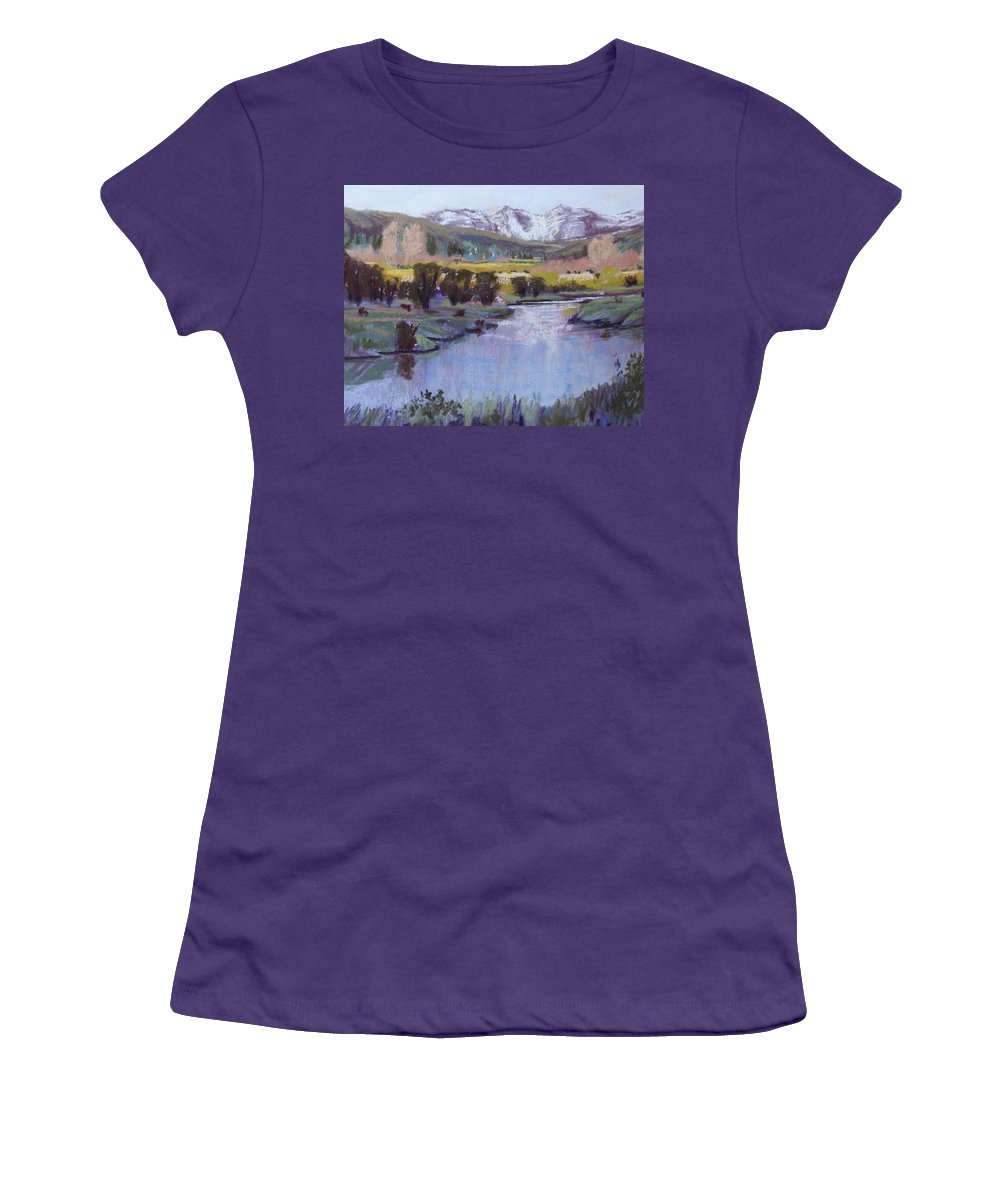 River Women's T-Shirt (Athletic Fit) featuring the pastel Wyoming River by Heather Coen