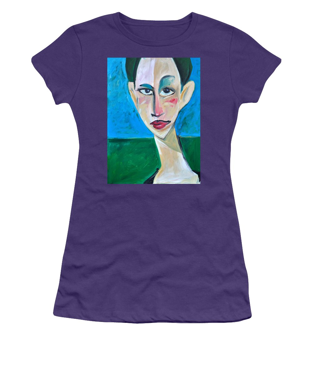 Woman Women's T-Shirt (Athletic Fit) featuring the painting Young Woman Green Field by Tim Nyberg