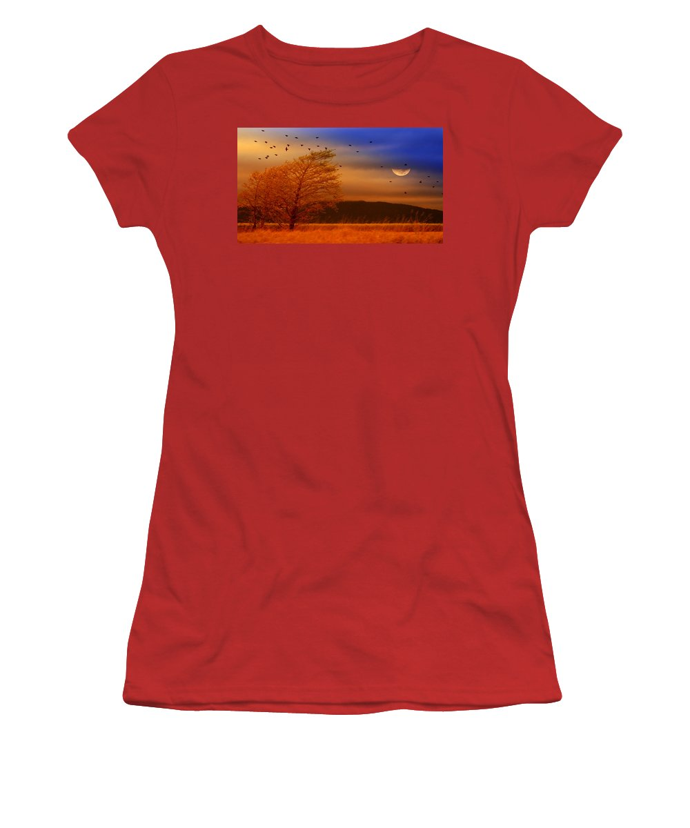 Landscape Women's T-Shirt (Athletic Fit) featuring the photograph Against The Wind by Holly Kempe