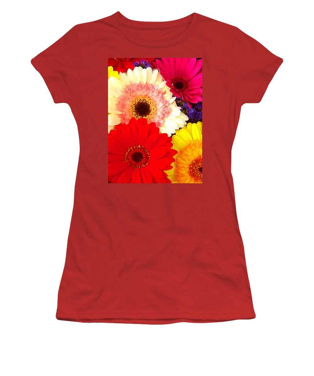 Daisies Women's T-Shirt (Athletic Fit) featuring the painting Brightly Colored Gerbers by Amy Vangsgard