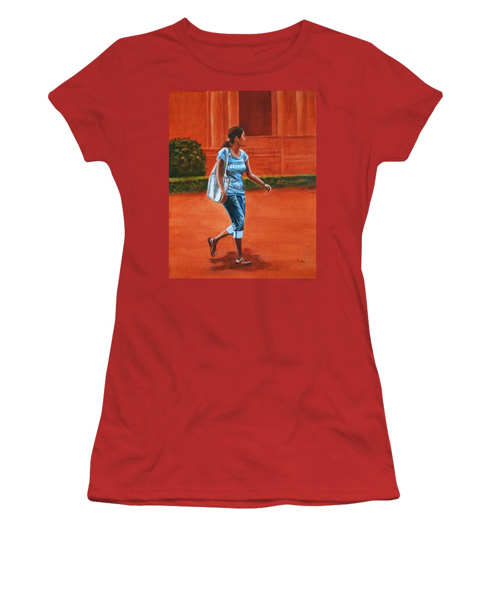 City Women's T-Shirt (Athletic Fit) featuring the painting City Girl by Usha Shantharam