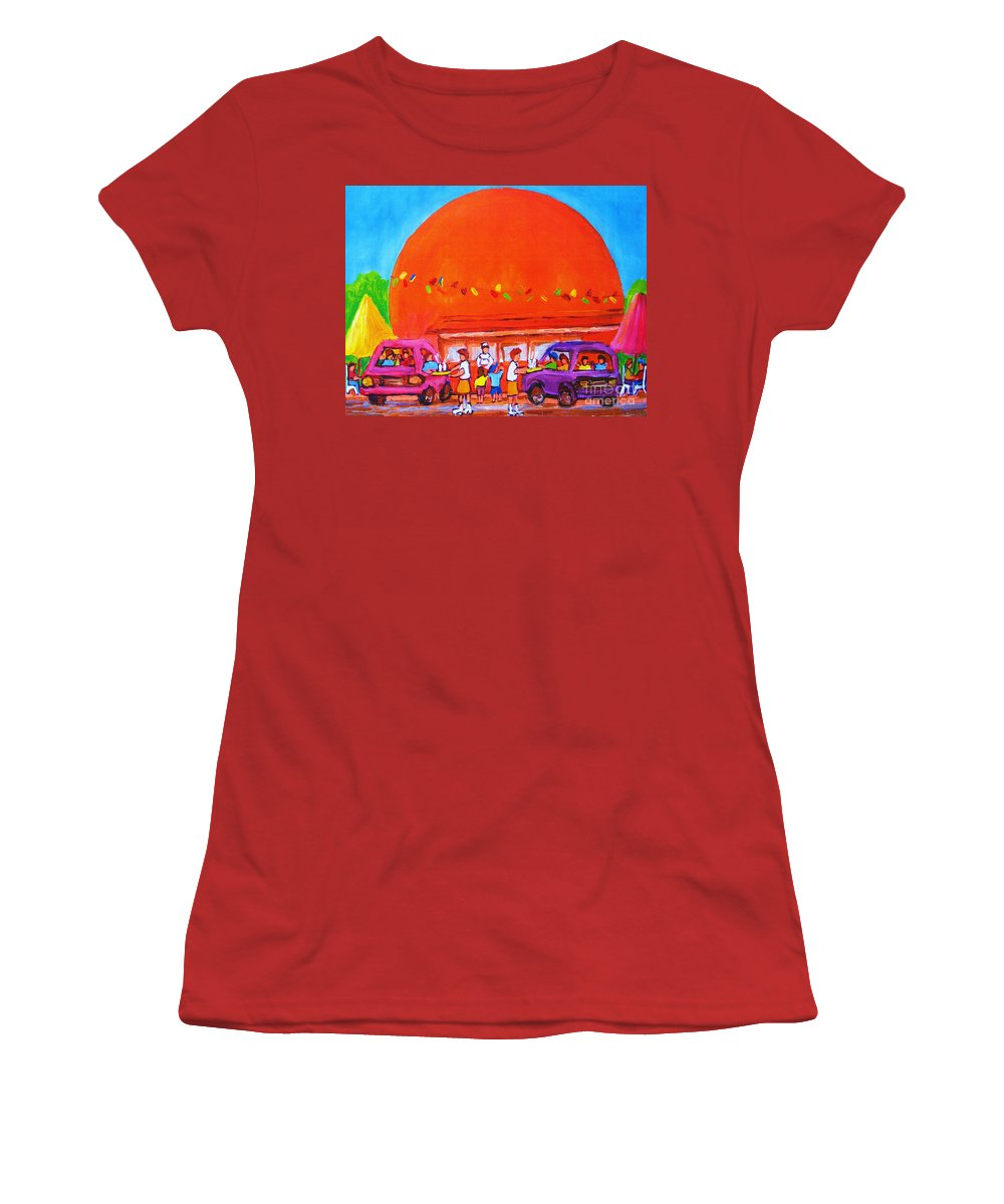 Montreal Women's T-Shirt (Athletic Fit) featuring the painting Happy Days At The Big Orange by Carole Spandau
