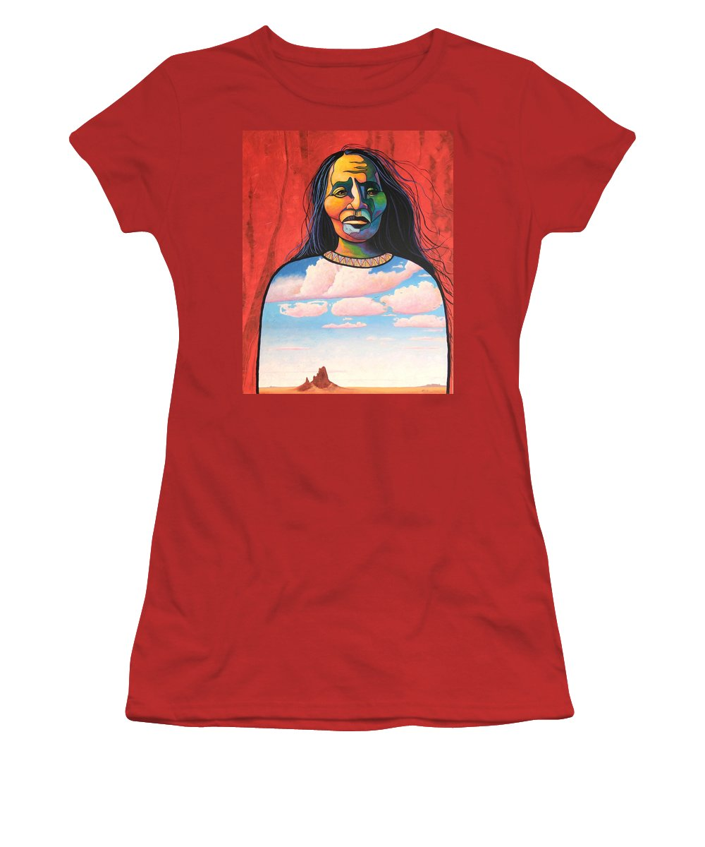 Native American Women's T-Shirt (Athletic Fit) featuring the painting Into Her Spirit by Joe Triano
