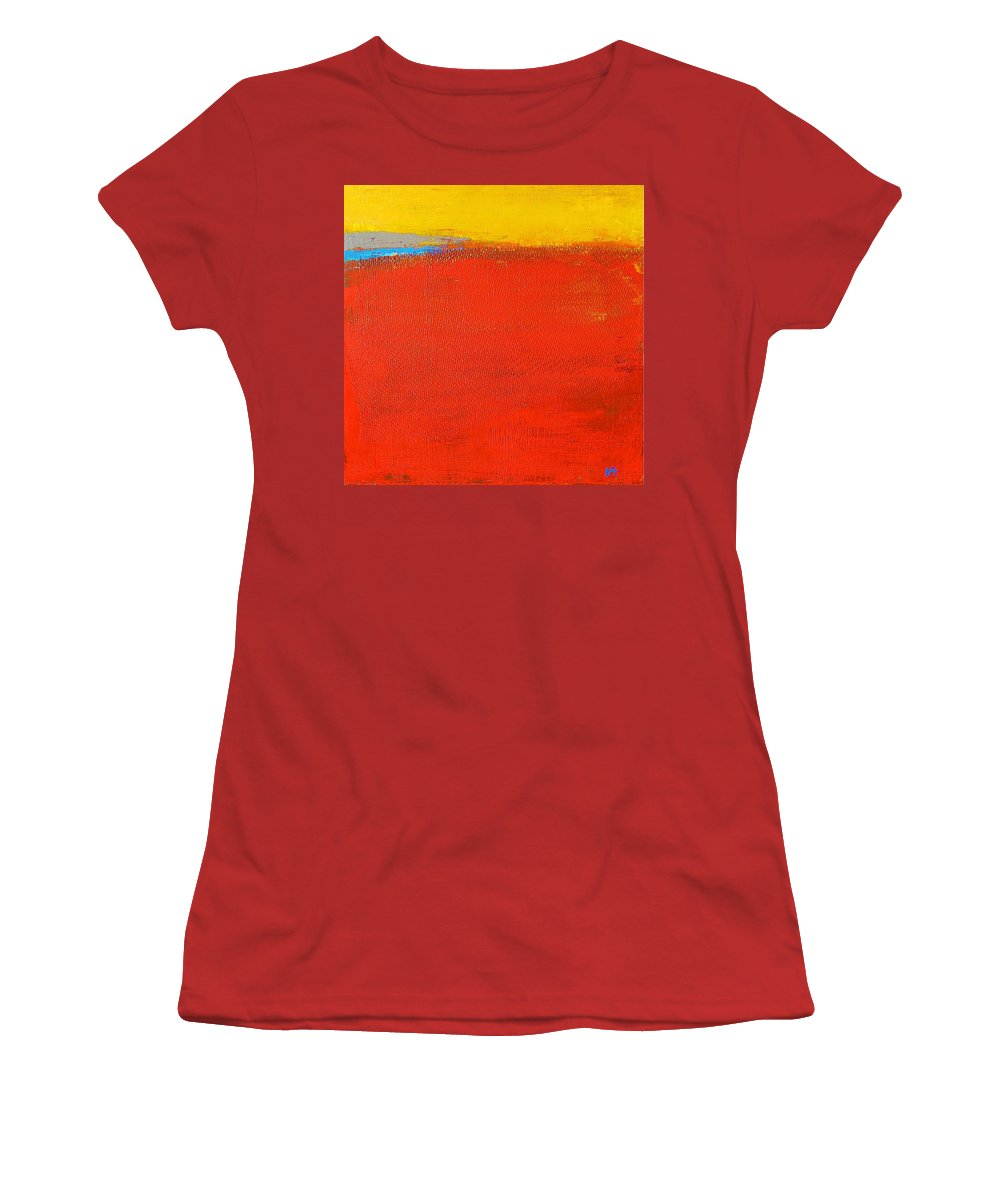 Landscape Women's T-Shirt (Athletic Fit) featuring the painting Nature Rouge by Habib Ayat