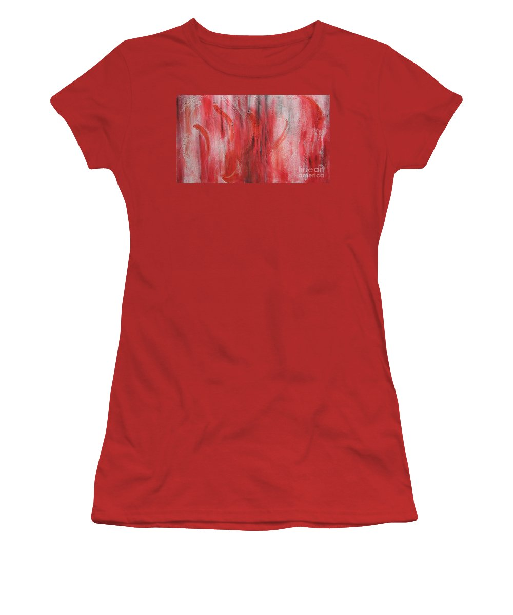 Modern Art Women's T-Shirt (Athletic Fit) featuring the painting Red Sea by Silvana Abel