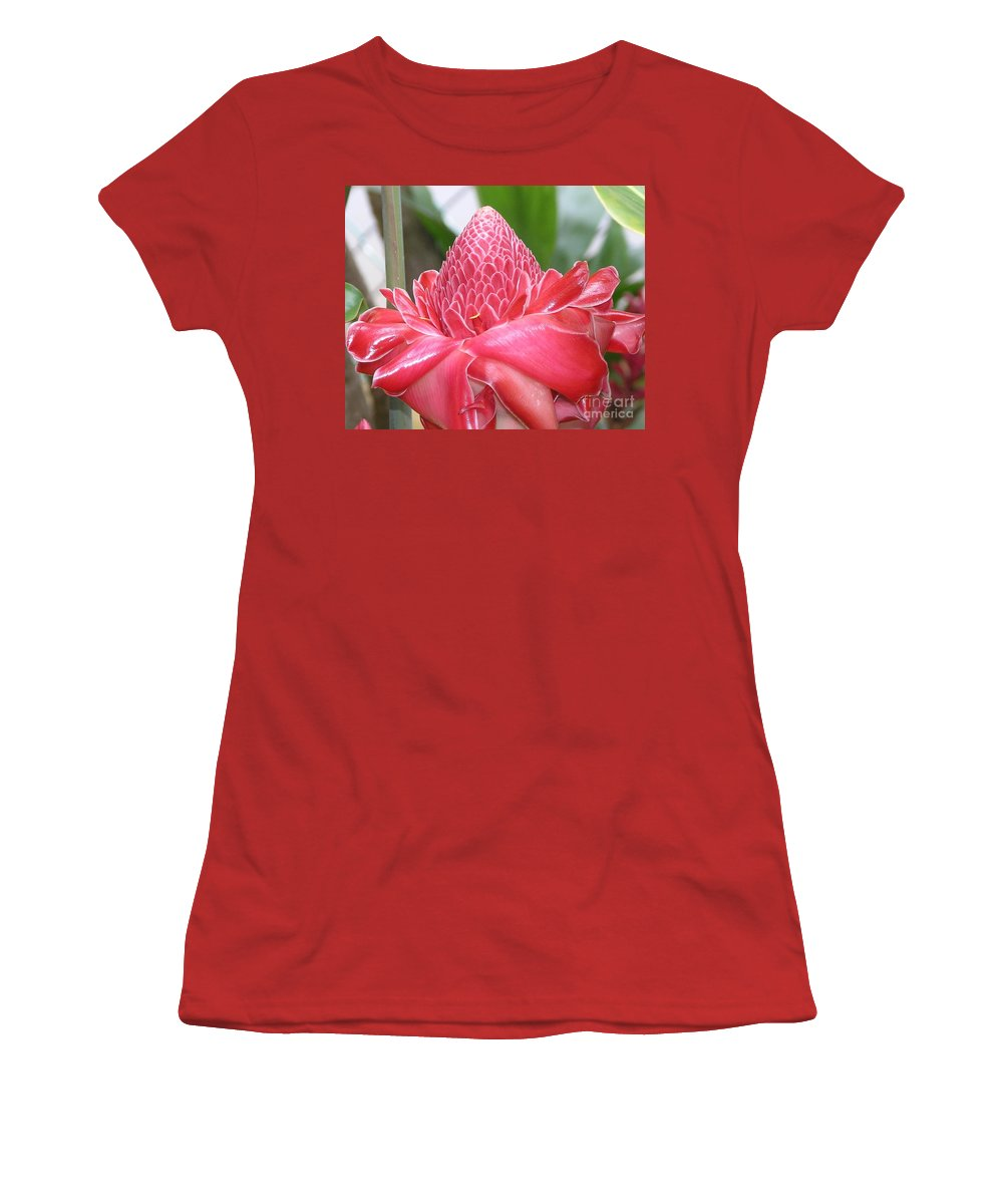 Ginger Women's T-Shirt (Athletic Fit) featuring the photograph Red Torch Ginger by Mary Deal