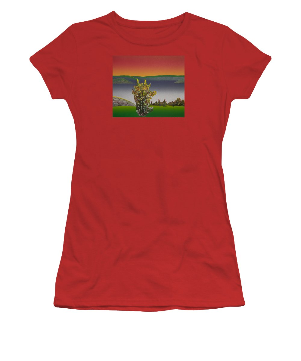Landscape Women's T-Shirt (Athletic Fit) featuring the drawing Static View. by Jarle Rosseland