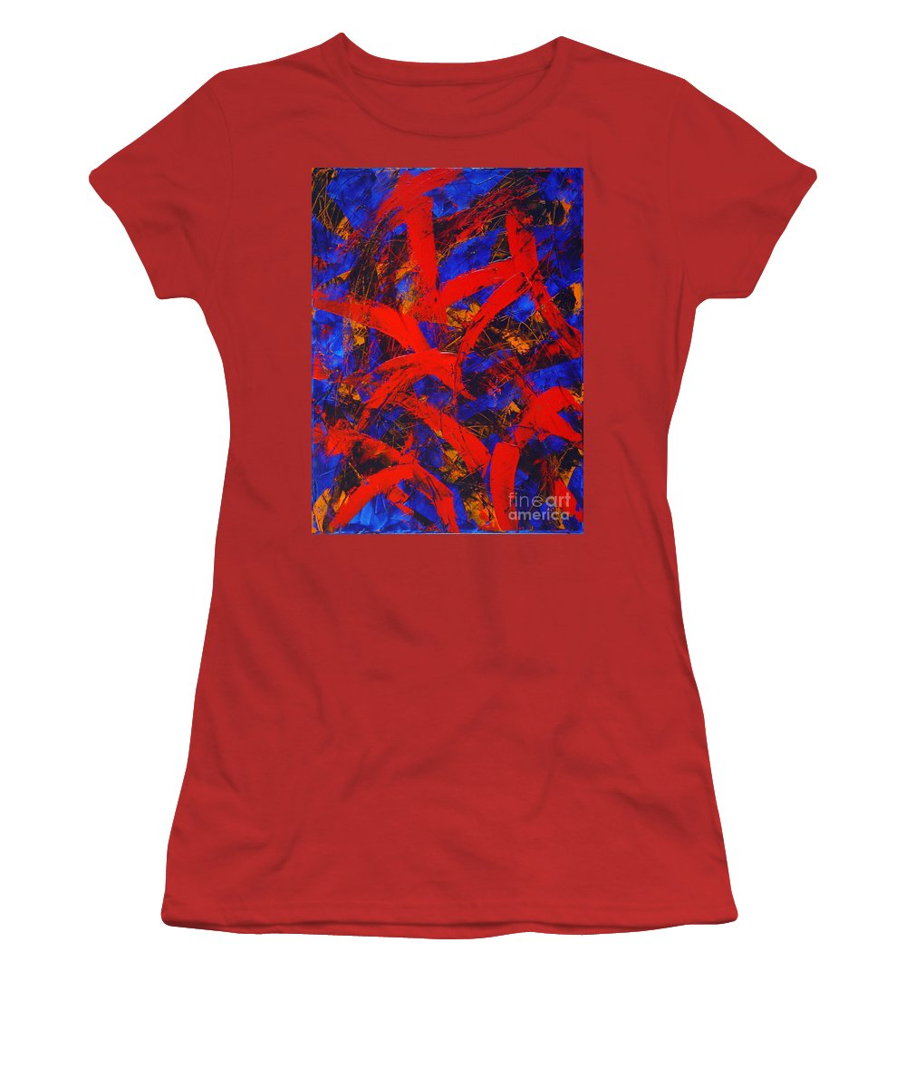 Abstract Women's T-Shirt (Athletic Fit) featuring the painting Transitions With Blue And Red by Dean Triolo